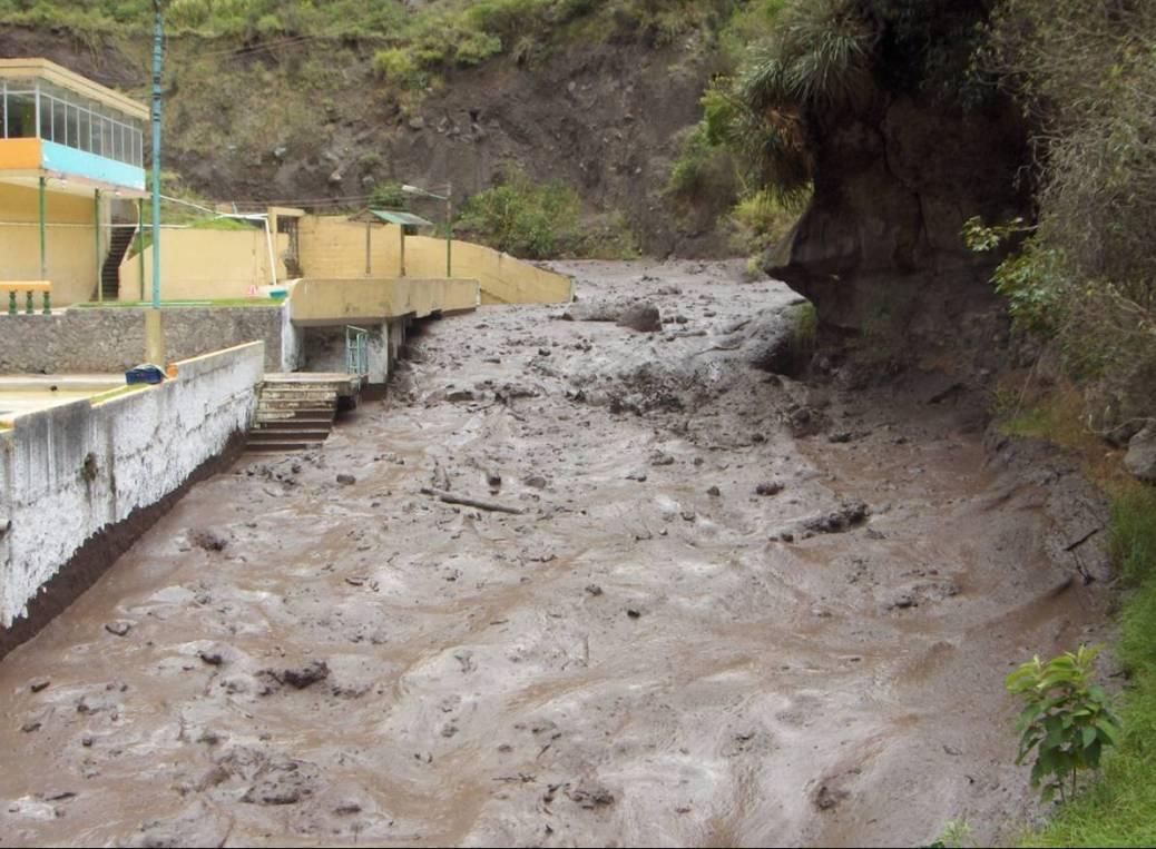 A volcanic lahar coming down Tungurahua volcano. Source:  IGEPN