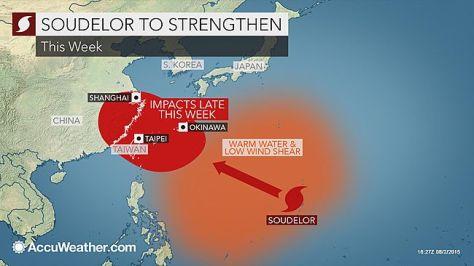 Projected trajectory of typhoon Soudelor. Source: AccuWeather.com