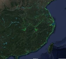 Chinese land reclamation projects along it's entire eastern coast. Green pixels show land reclaimned from the sea.